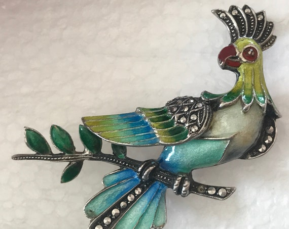1950s Sterling silver enamelled Marcasite bird brooch/pin
