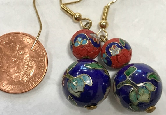 Vintage cinnabar and Cloisonné drop pierced earrings navy and red floral