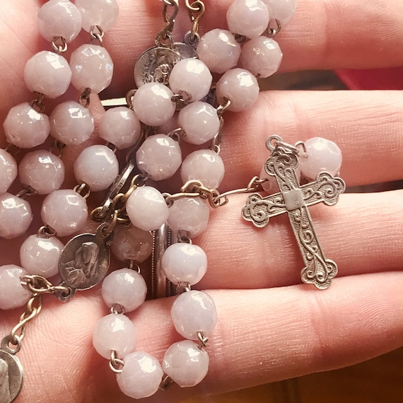 Old vintage silver and lilac glass Rosary beads cross necklace