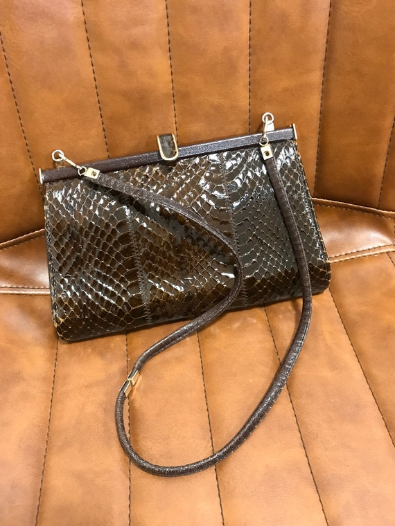 Small vintage dark brown snakeskin shoulder bag by Jane Shilton London