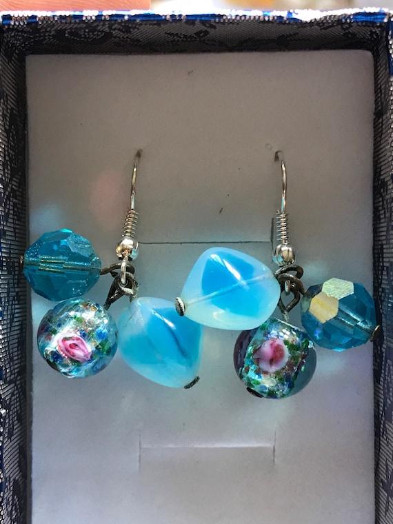 Antique Venetian blue glass beaded drop earrings