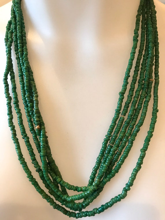 "Three strands of long vintage Art Deco beaded necklaces spring green 25"" flapper style"