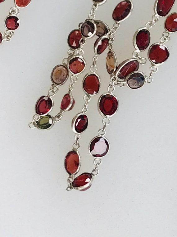 Amazing Vintage graduated bezel gemstone necklace with old irregular  hand cut stones