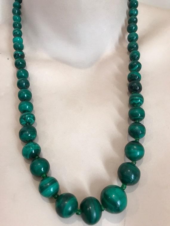 Striking vintage long round beaded Malachite stone necklace