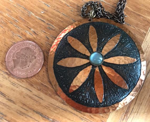 Vintage Moda hand made in Malta modernist copper necklace flower design