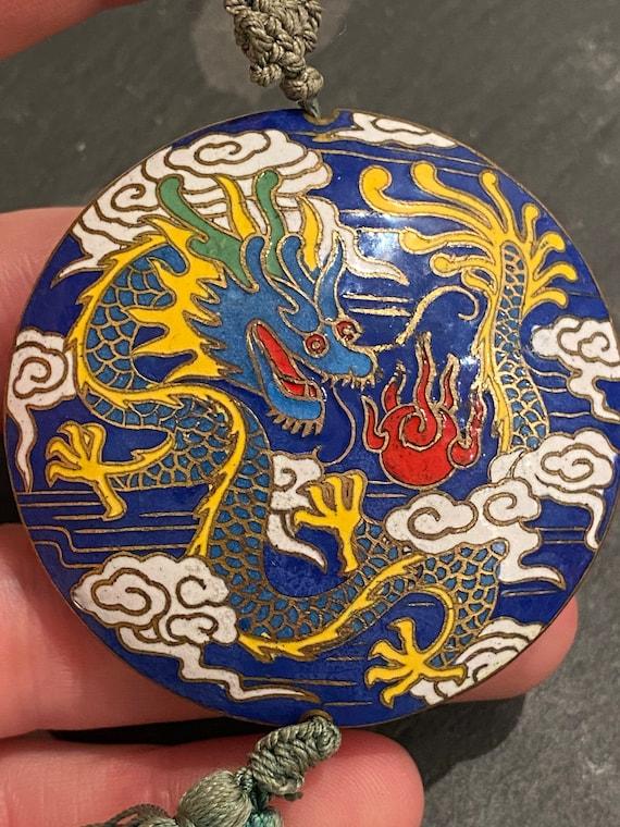 Striking large vintage Chinese cloisonne dragon pendant tassel necklace bright enamels
