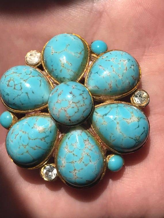 1950s faux turquoise glass cabochon brooch/pin by Costume jewellery Makers SPHINX