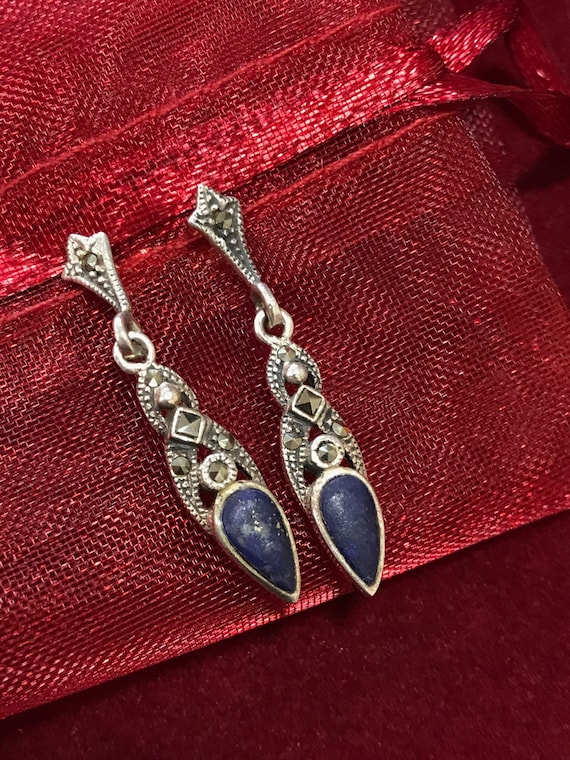 Vintage silver Marcasite and lapis drop earrings
