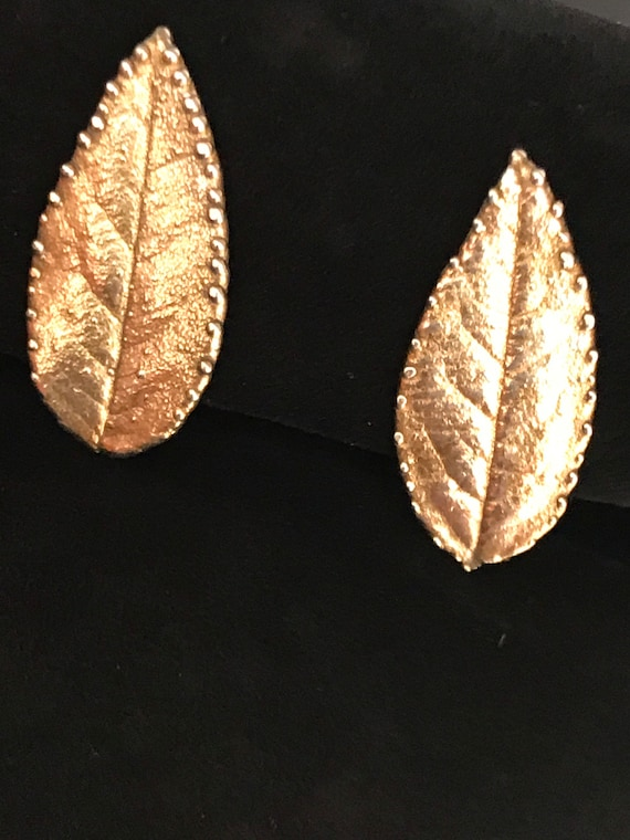 Vintage Sterling silver gold wash Clip on earrings signed Eggert Denmark leaf shaped