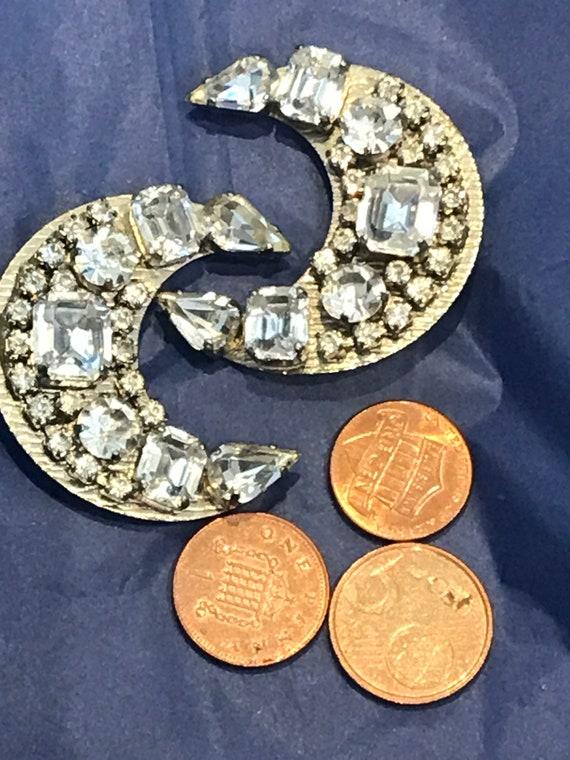 Unusual oversized diamanté crescent clip on earrings statement piece earrings