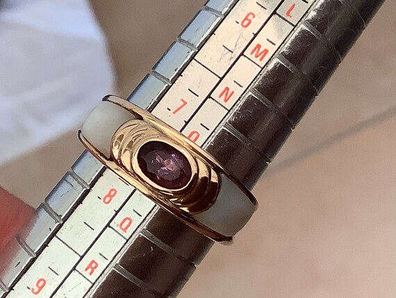 Gold plated 925 silver deep purple Amethyst and mother of Pearl inlaid band ring Uk size P US size 7.5
