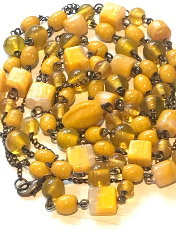 Beautiful extra long length bright yellow glass beaded chain necklace 53 inches long