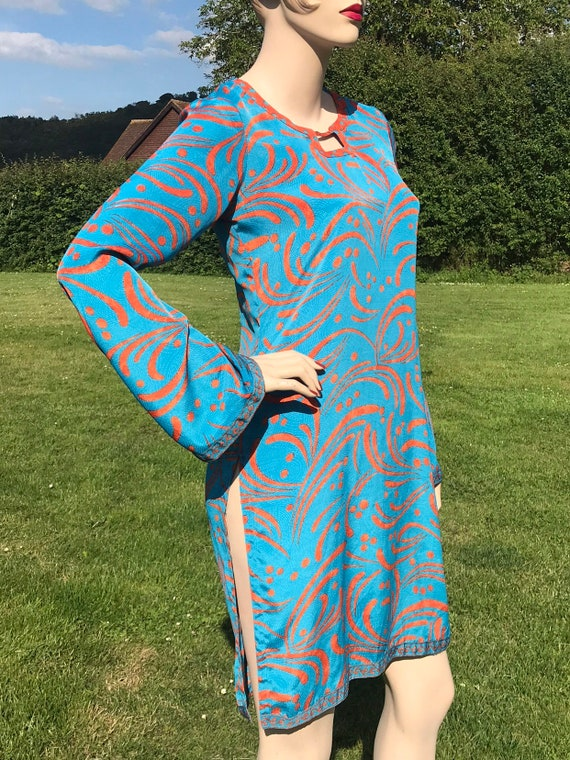 Vintage handmade 60s 70s style psychedelic dress kaftan tunic