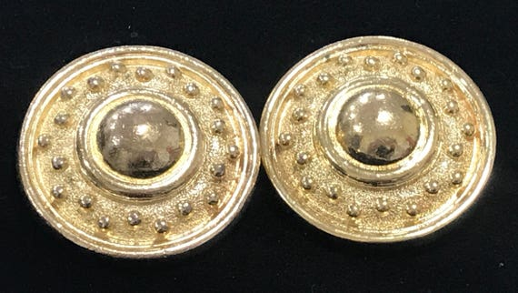 Original vintage Christian Dior signed clip on earrings gold tone