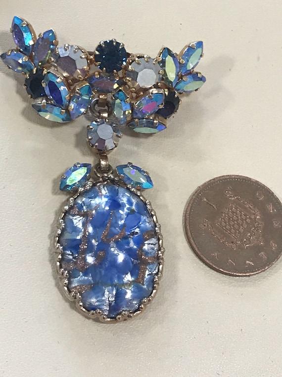 Beautiful Aurora Borealis rhinestone and foil glass blue brooch