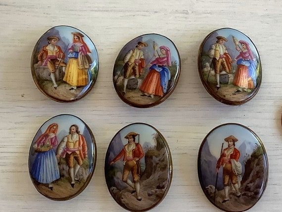 Rare set of six Mid-19th C Hand Painted Oval Porcelain large scenic oval buttons