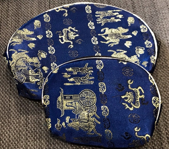 Matching vintage Chinese blue silk patterned cosmetics bag and coin pouch excellent condition