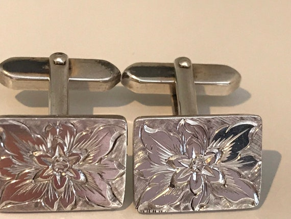 Stunning vintage solid silver unisex floral etched 835 silver cufflinks