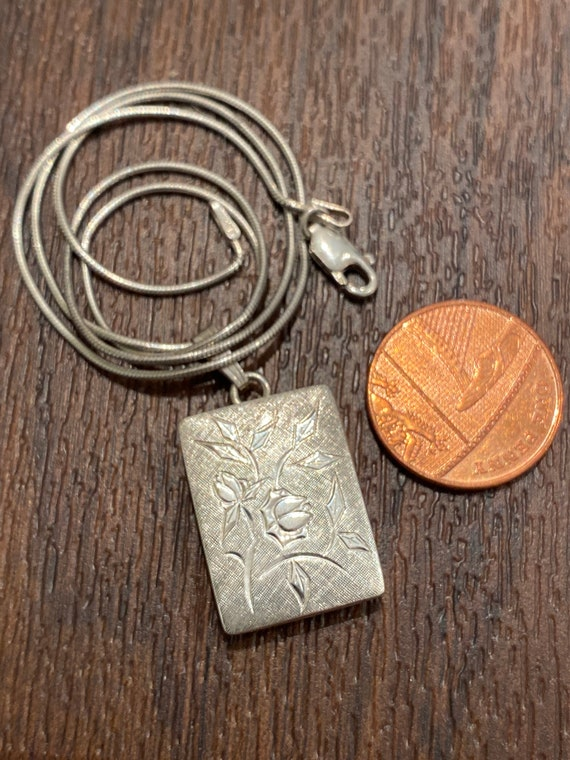 Vintage solid silver rectangular locket double sided 925 silver picture by K&L