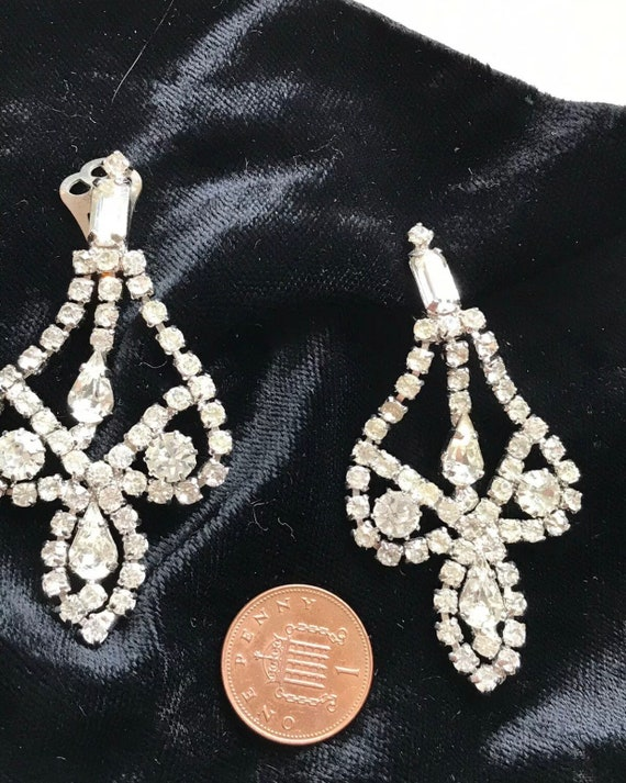 Striking Vintage Large Statement Piece Diamante Rhinestone Clip On Earrings