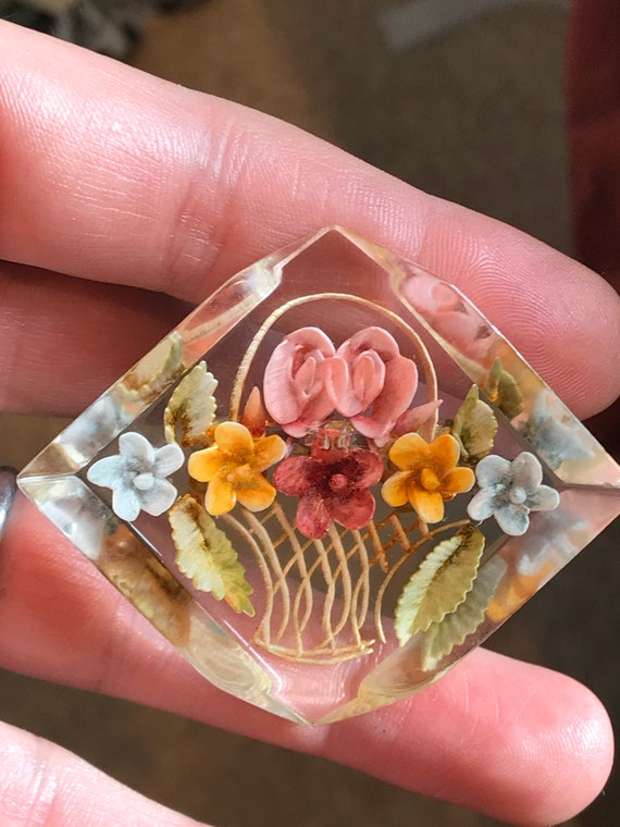 Beautiful reverse carved Lucite floral basket  brooch c1950