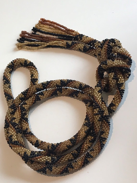 Vintage 1920's geometric striped Art Deco glass seed bead tassel flapper necklace 53""
