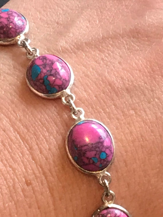 Unusual pink and turquoise marbled glass cabochon silver link bracelet