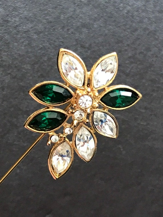 Lovely vintage green and clear rhinestone gold plated monet stick pin brooch