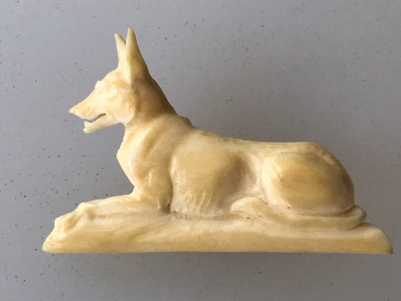 Vintage early celluloid carved dog brooch German Shepard
