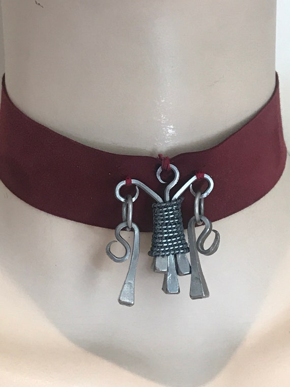 Unusual vintage handmade steel horseshoe nail Gothic style choker necklace