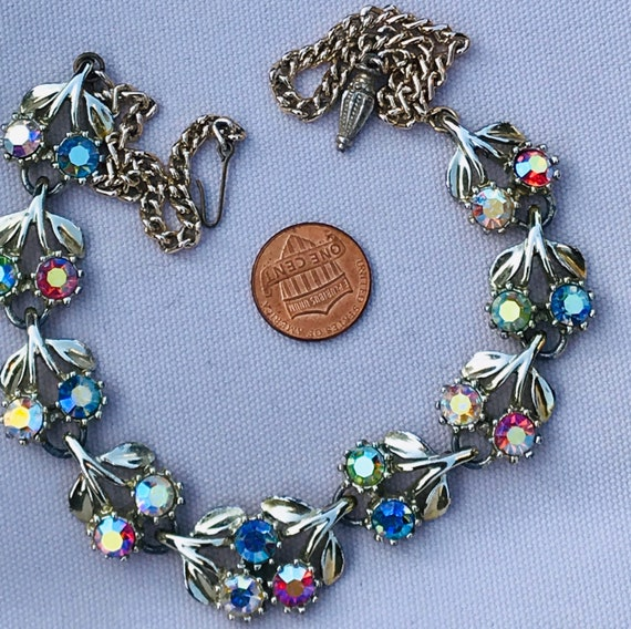 Beautiful vintage rhinestone choker necklace pale blue and pink crystals