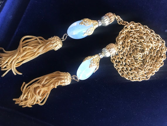 Striking unusual Vintage gold plated heavy Tassel necklace with opaque glass droplets 51 inches