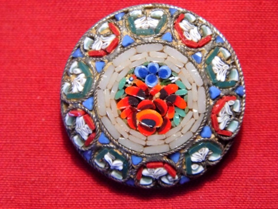 Vintage Italian glass micro mosaic brooch set with floral design c1900
