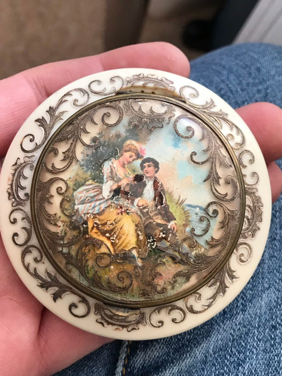 Stunning rare celluloid carved and overpainted  French Romantic pastoral scene powder compact