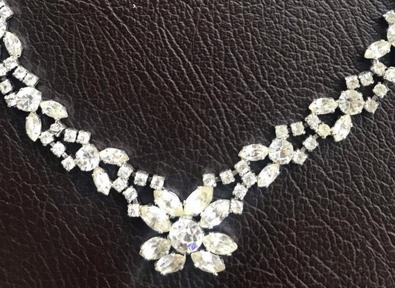 Stunning Vintage 1950s clear sparkling rhinestone choker necklace wedding