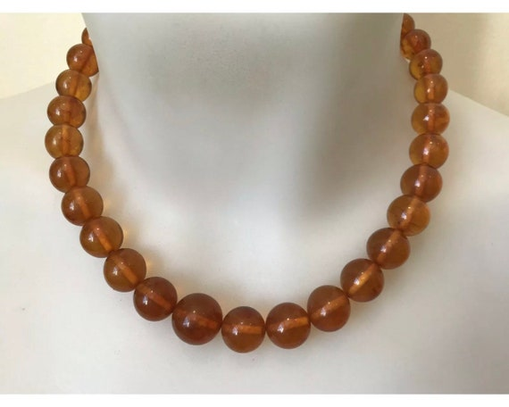 Vintage Baltic Amber Round Beaded Necklace With Screw Clasp 41 Grams