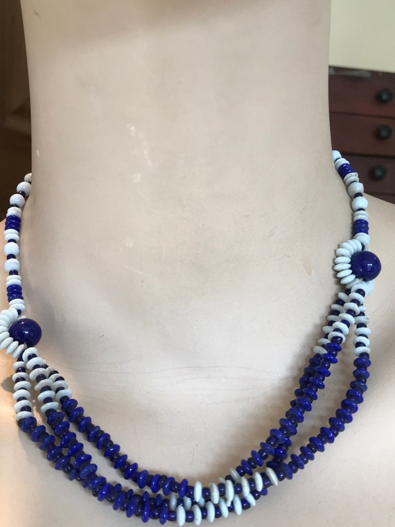 "1950s Vintage three  stranded navy blue  and white glass necklace 17"" length"