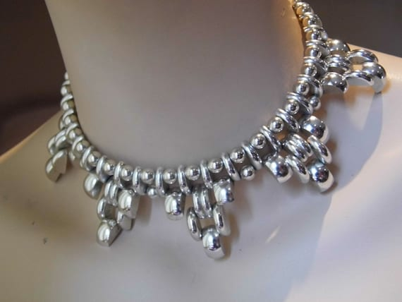 Unusual Chunky silver tone vintage choker necklace c1960s