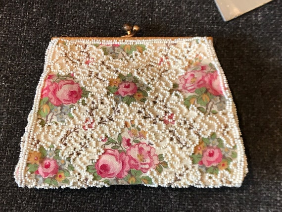Beautiful Vintage French Art Deco beaded purse small evening bag rose fabric day clutch