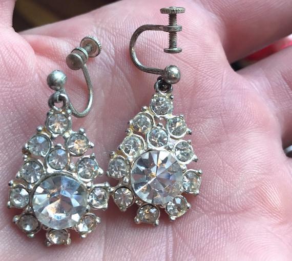 A beautiful pair of vintage diamante droplet earrings Art Deco style screw backed