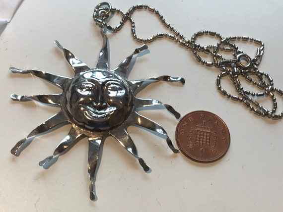 """Unusual large statement piece solid silver handmade vintage sun face pendant on 18"""" silver chain"""