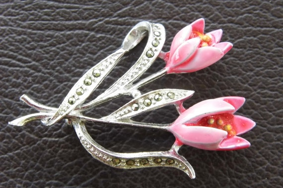 1950s pot enameled marcasite pink flower brooch/ pin