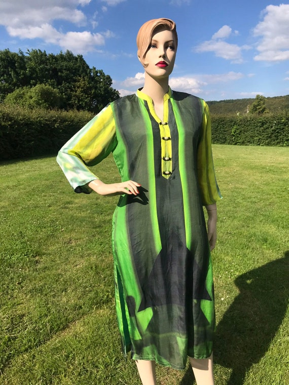 Unusual Beautiful vintage handmade brightly coloured silk kaftan beach cover up tunic
