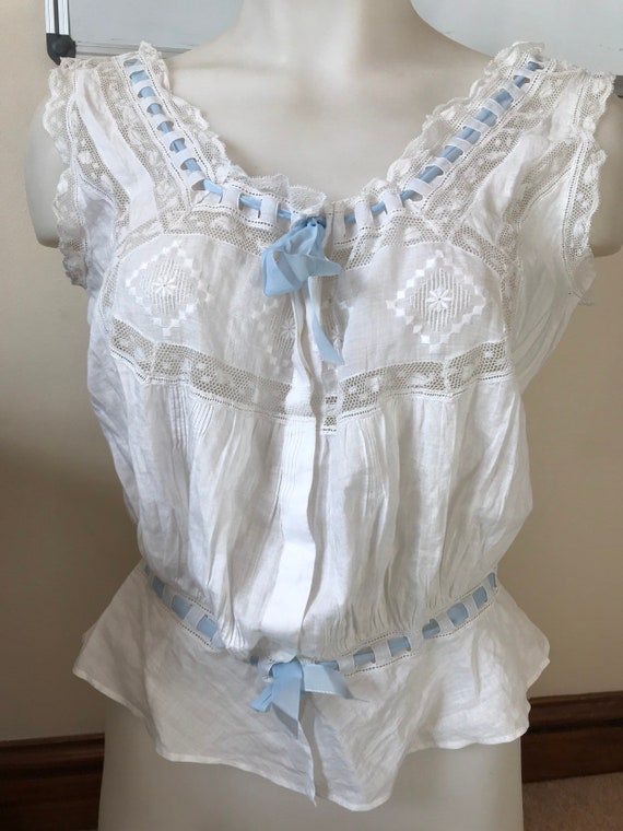 vintage 1920s cotton lace camisole ribbon top 38 inch bust