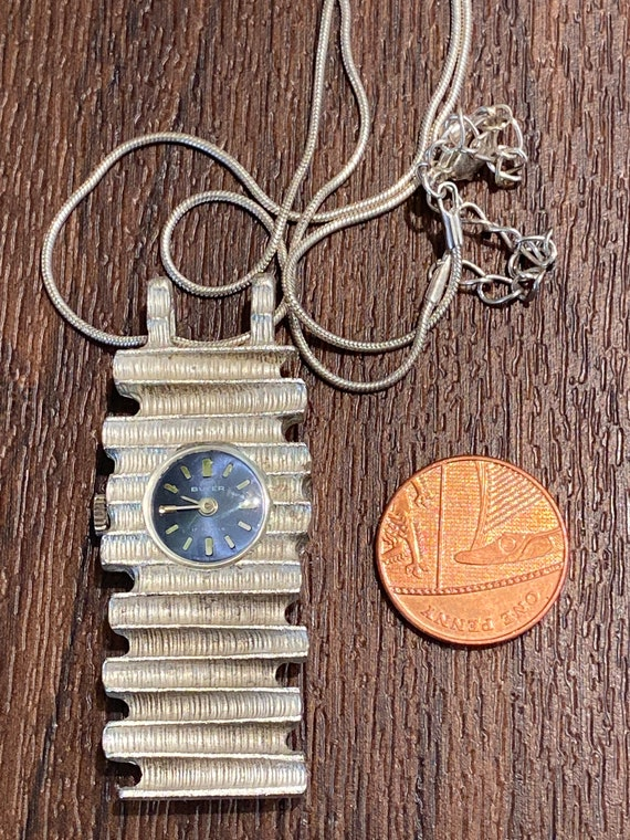 Vintage silver toned Buler 17 jewels Swiss made pendant watch working c1970s