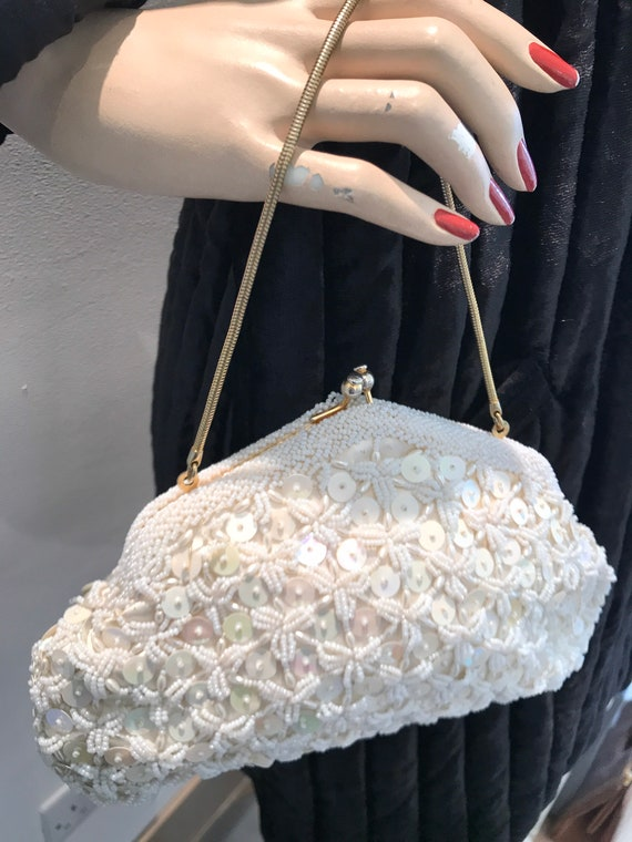 Vintage ivory hand beaded and sequinned wedding bag evening Bag