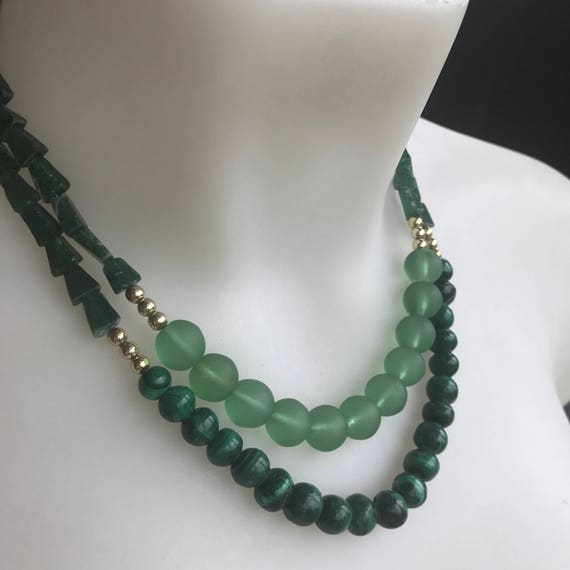 Adventurine and Malachite two stranded beaded necklace healing properties comfort calm & balance