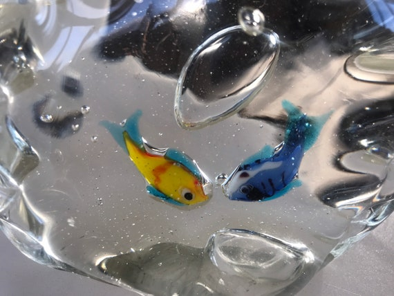 Two vintage glass swimming fish ornaments