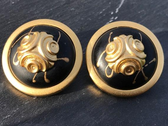 Large oversized vintage clip on earrings Mada in Italy black and gold