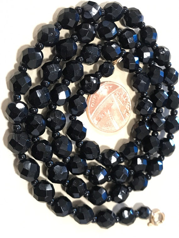 """Long length vintage faceted French jet black glass beaded necklace 25"""""""